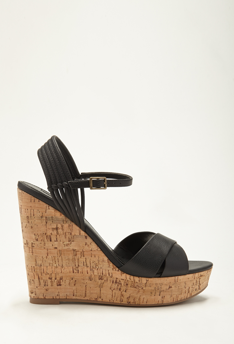 a023100f4d Forever 21 Strappy Cork Wedge Sandals in Black - Lyst