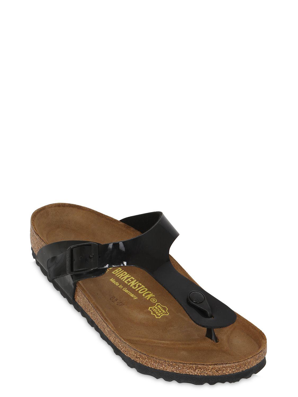 f71ffcf8de44 Lyst - Birkenstock Gizeh Patent Leather Thong Sandals in Black for Men