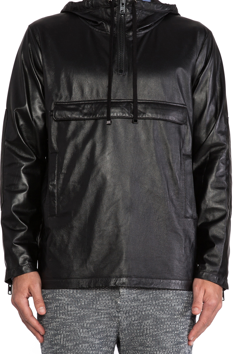 Timo Weiland Leather Anorak In Black For Men Lyst