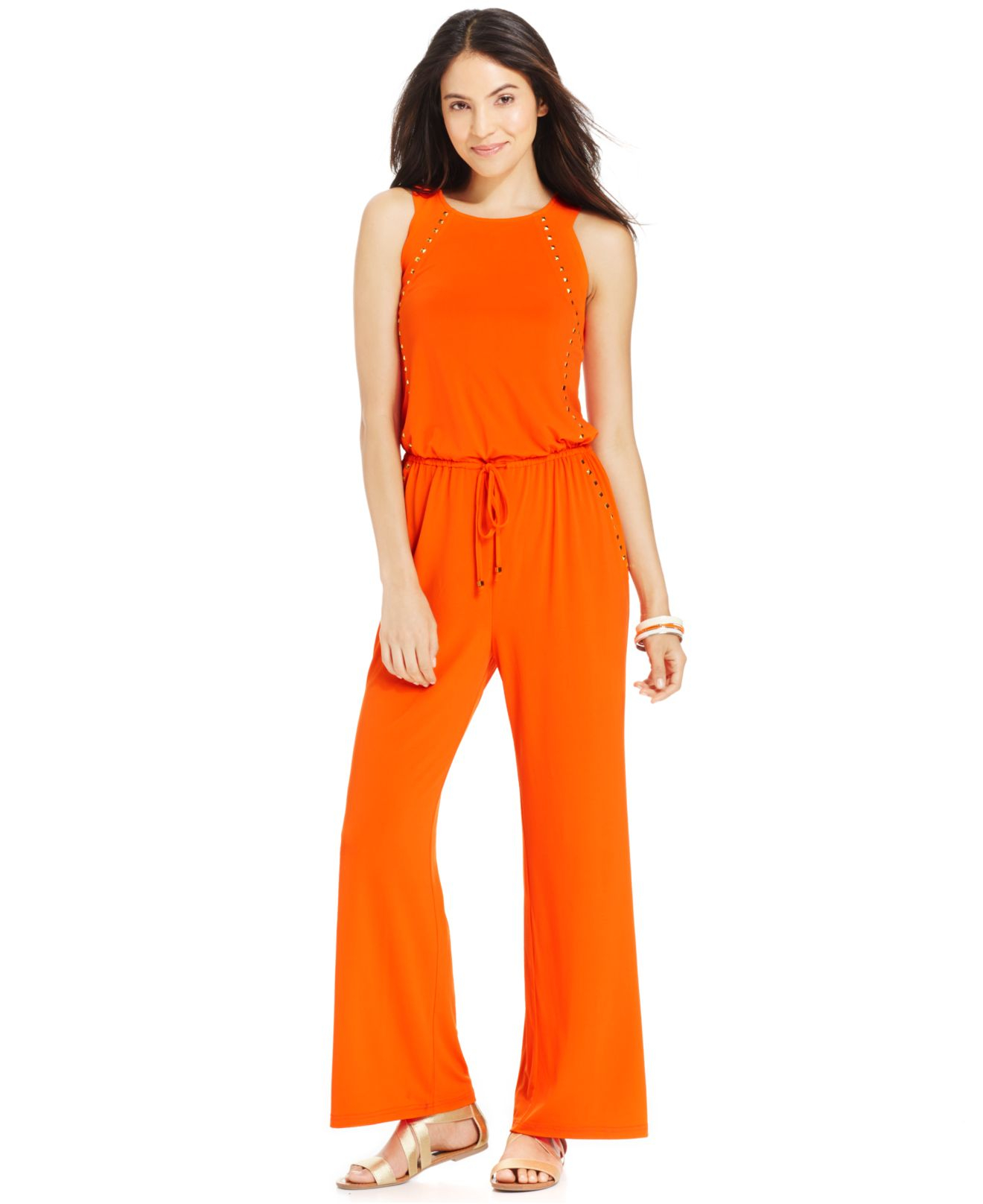 Excellent Miss Chase Orange Long Long Jumpsuit For Women Sleeveless Round Neck