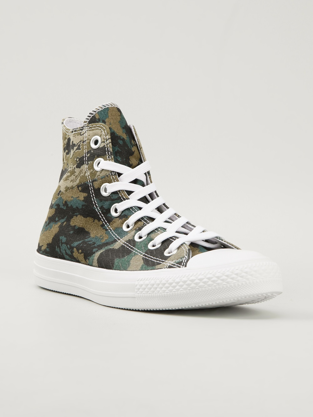 Lyst Converse Camouflage Print Hitop Sneakers In Green For Men