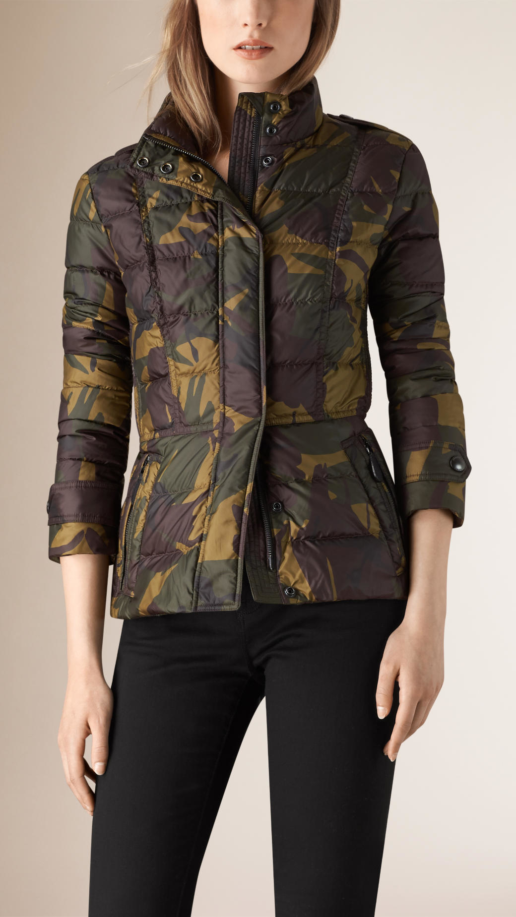 Burberry Camouflage Print Technical Puffer Jacket In Black