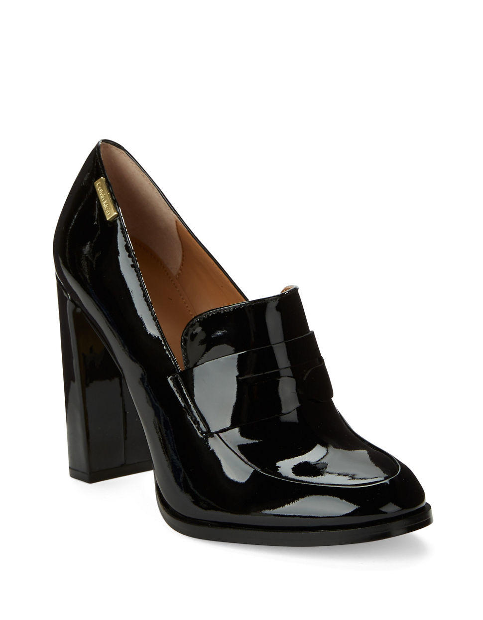 save off 9c10b 61ad9 Calvin Klein Kathryn Leather Loafer Pumps in Black - Lyst