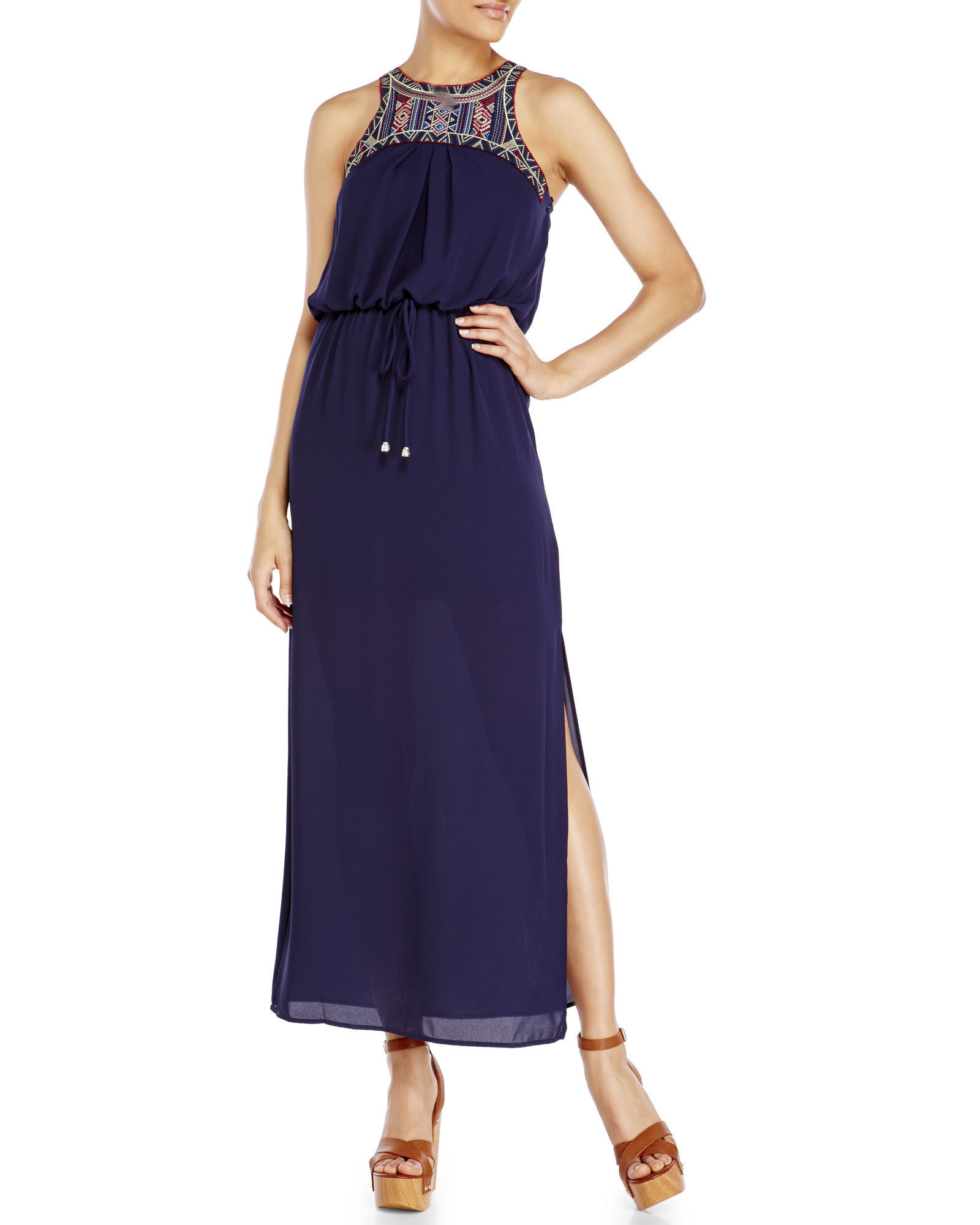 Lyst city triangles navy embroidered maxi dress in blue