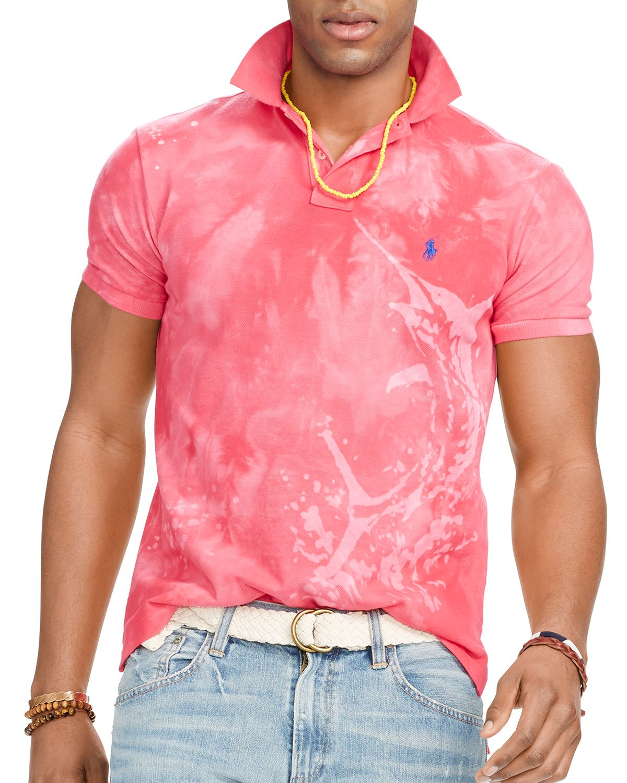 Custom Lauren Ralph Slim For Shirt Print Fit Polo Men Pink Marine 1TKlcFJ