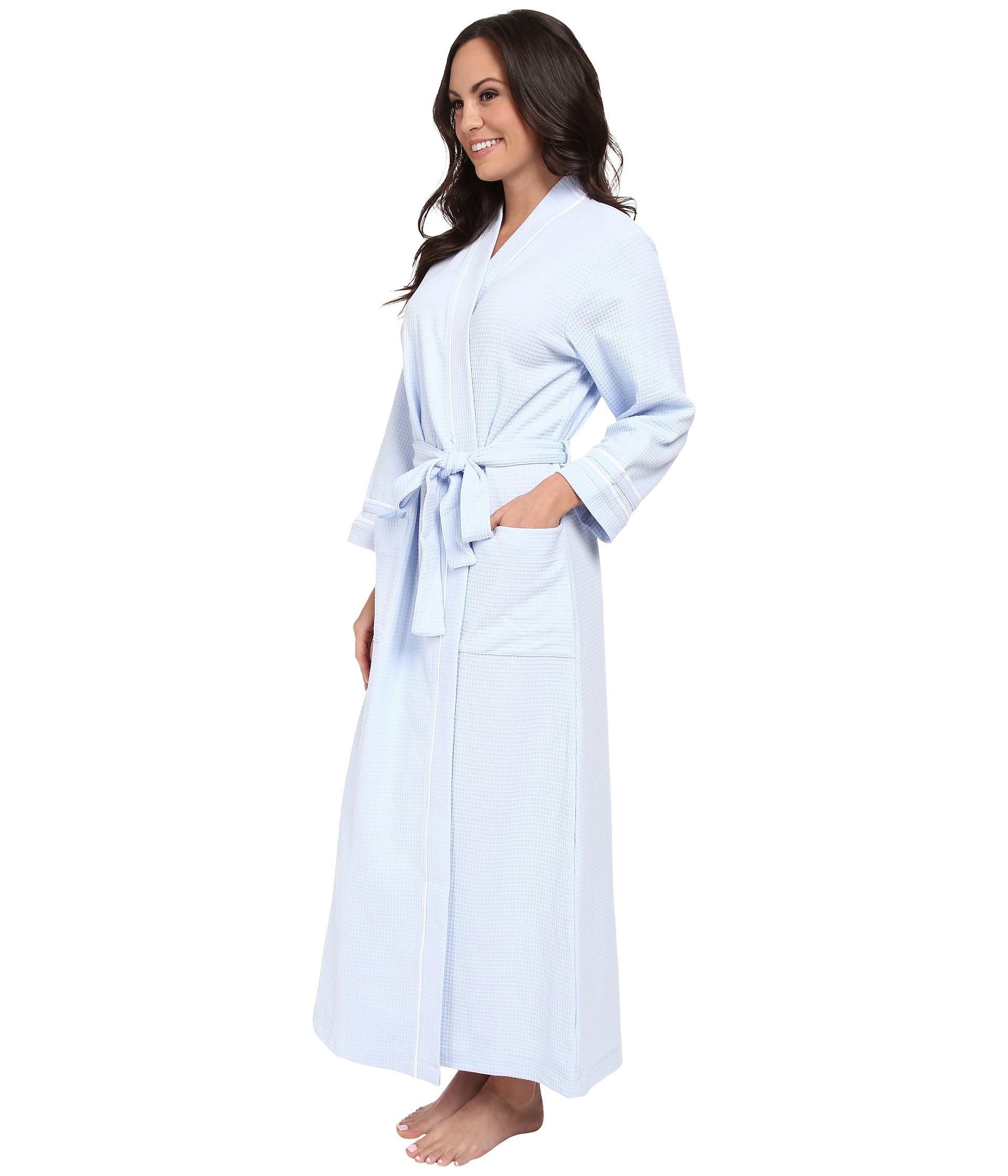Lyst - Carole Hochman Waffle Knit Long Robe in Blue