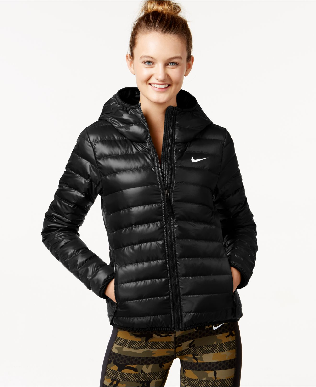 Lyst - Nike Victory 550 Down Hooded Jacket in Black fa153622e