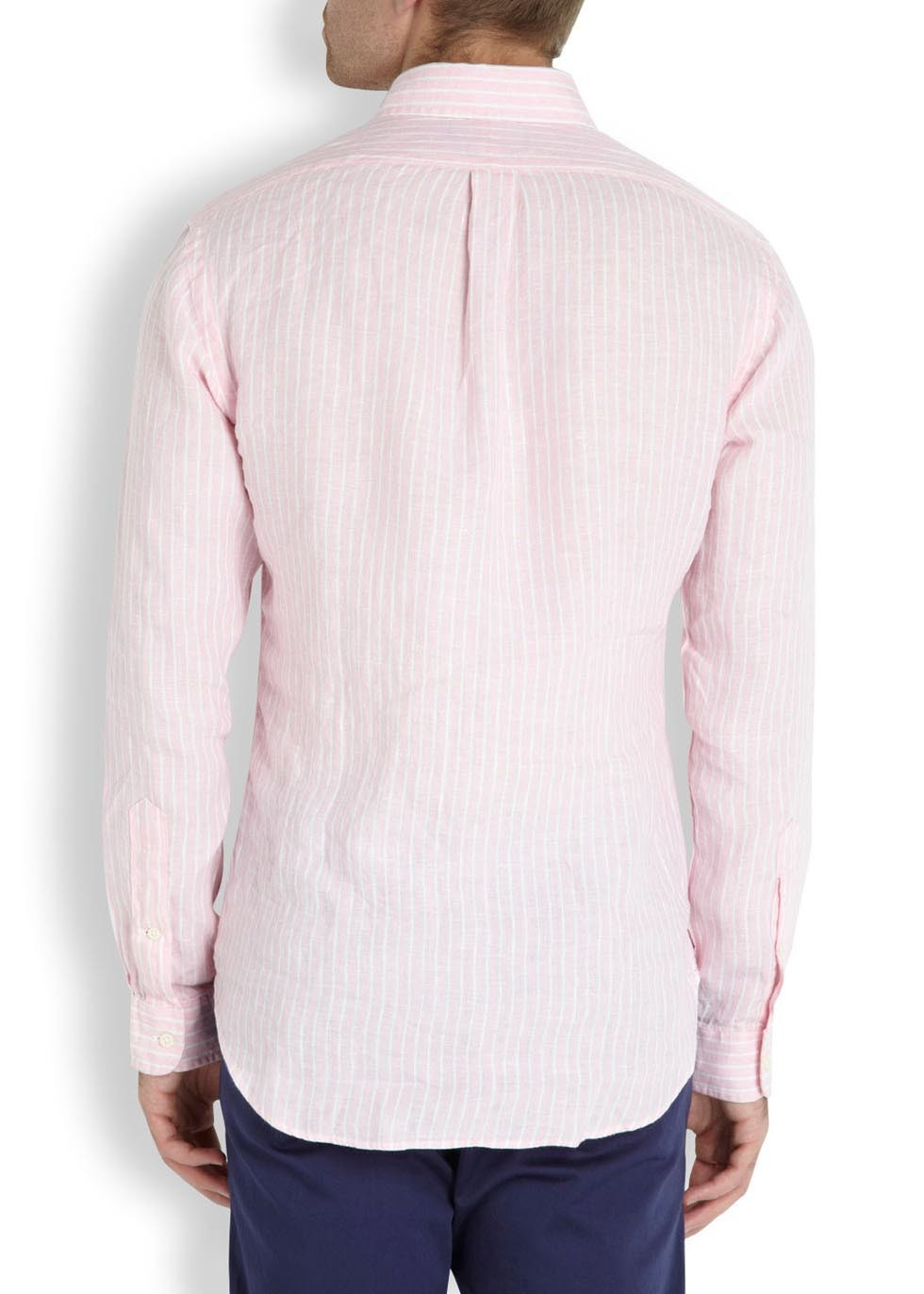 Polo ralph lauren pink and white striped linen shirt in for Pink and white ralph lauren shirt