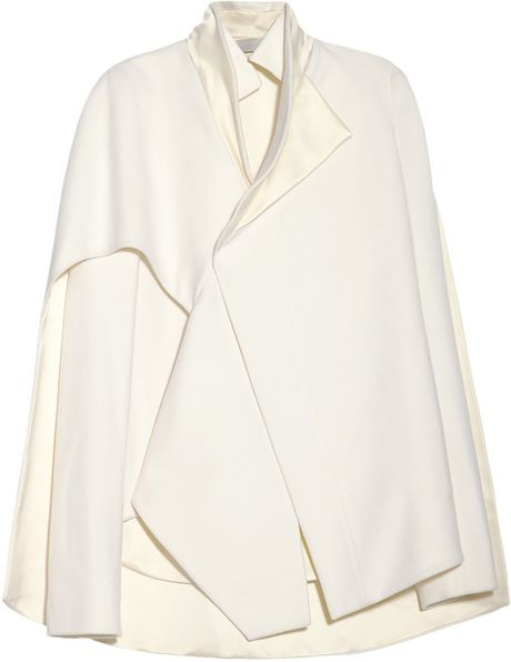 Esteban Cortazar Cape-Back Wool-Blend and Duchess Satin Jacket in White (ivory)