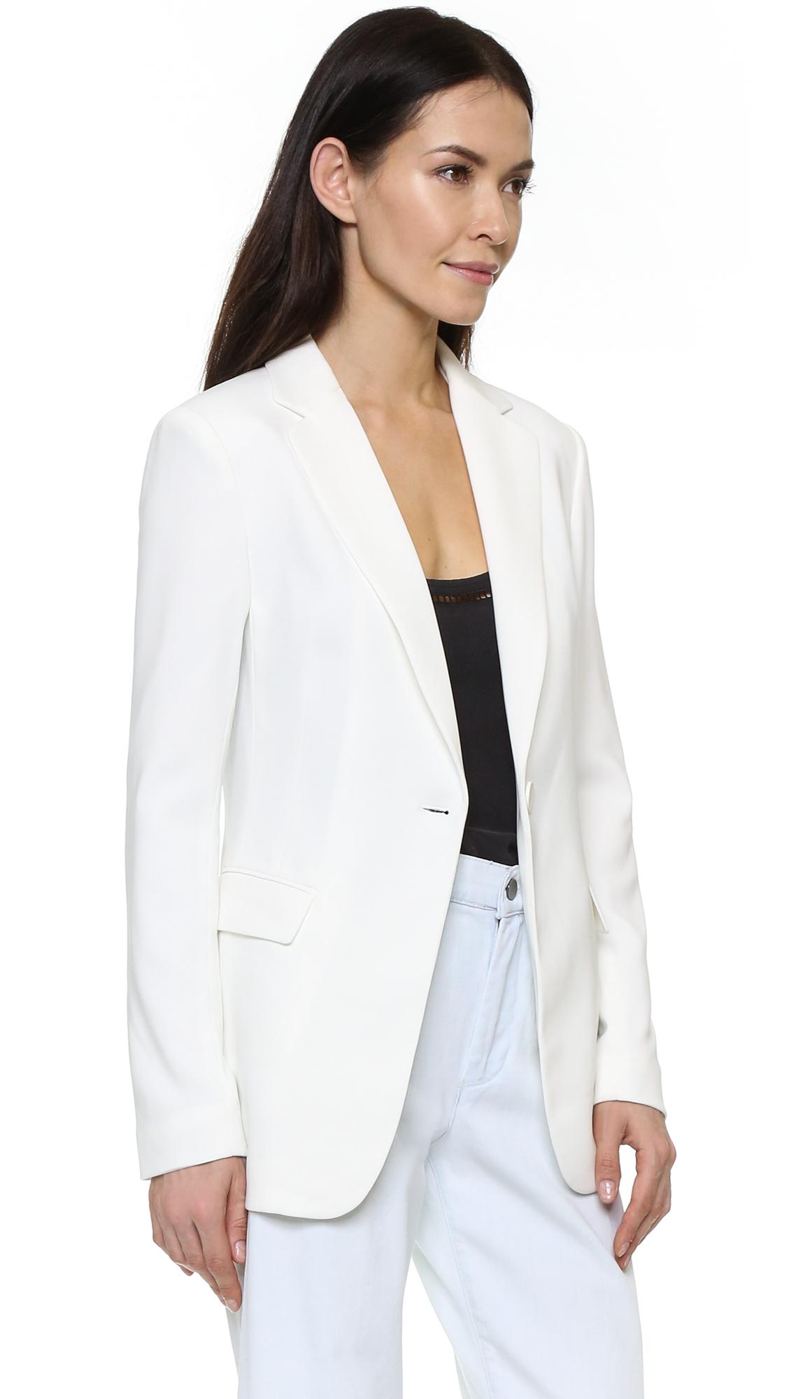 James jeans Single Button Classic Blazer in White