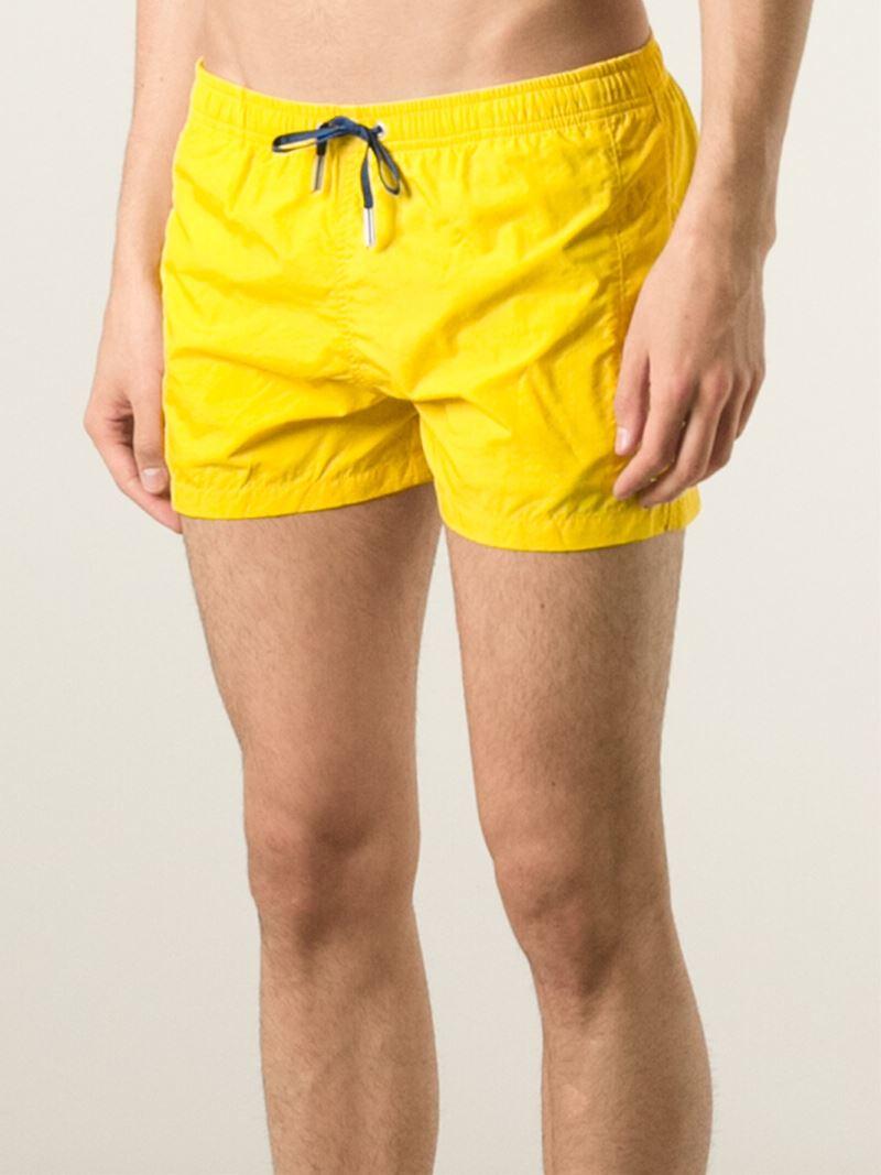 c4f8eb31f6 Fendi Logo Emblem Swim Shorts in Yellow for Men - Lyst