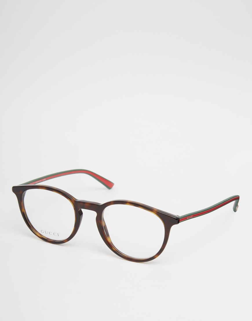 6c49b2f19f7 Lyst - Gucci Round Clear Lens Glasses In Tort in Brown for Men