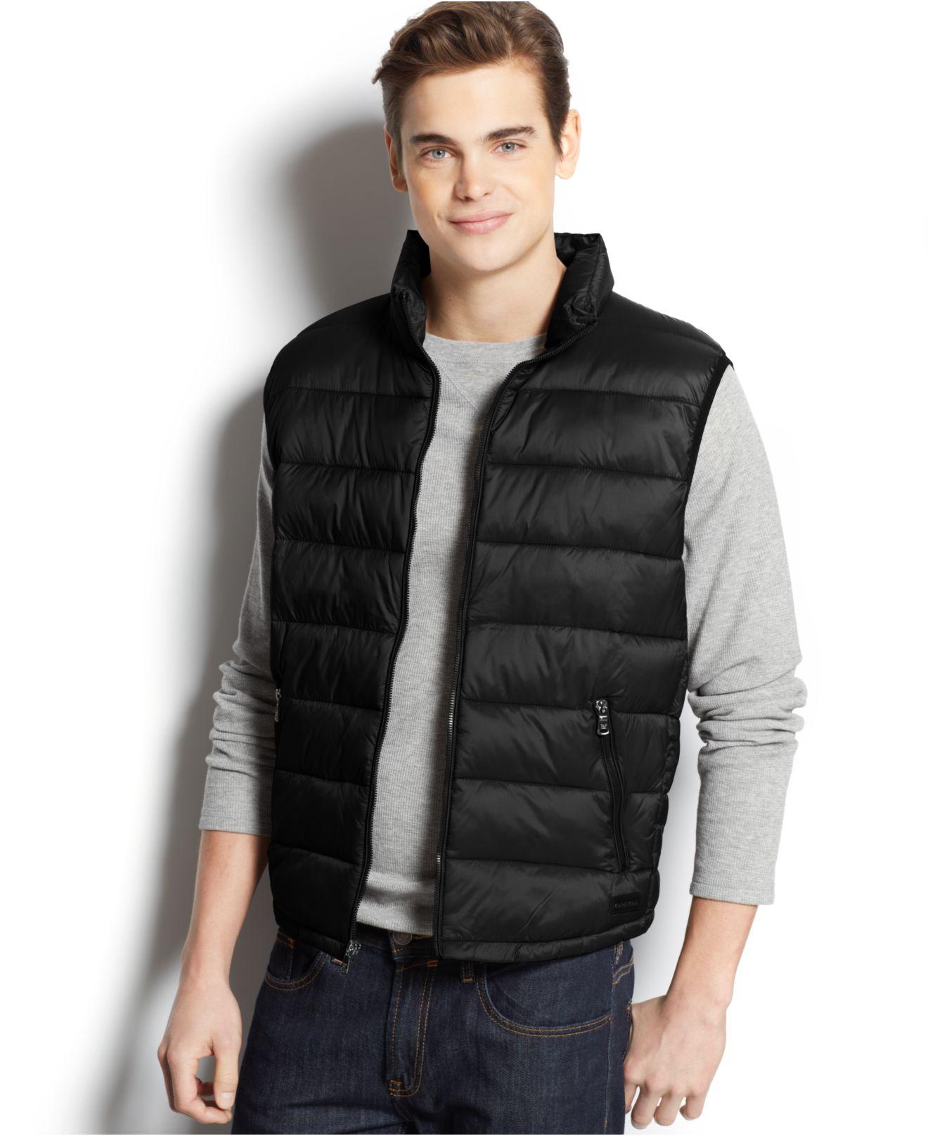 Calvin Klein Packable Puffer Vest In Black For Men Lyst