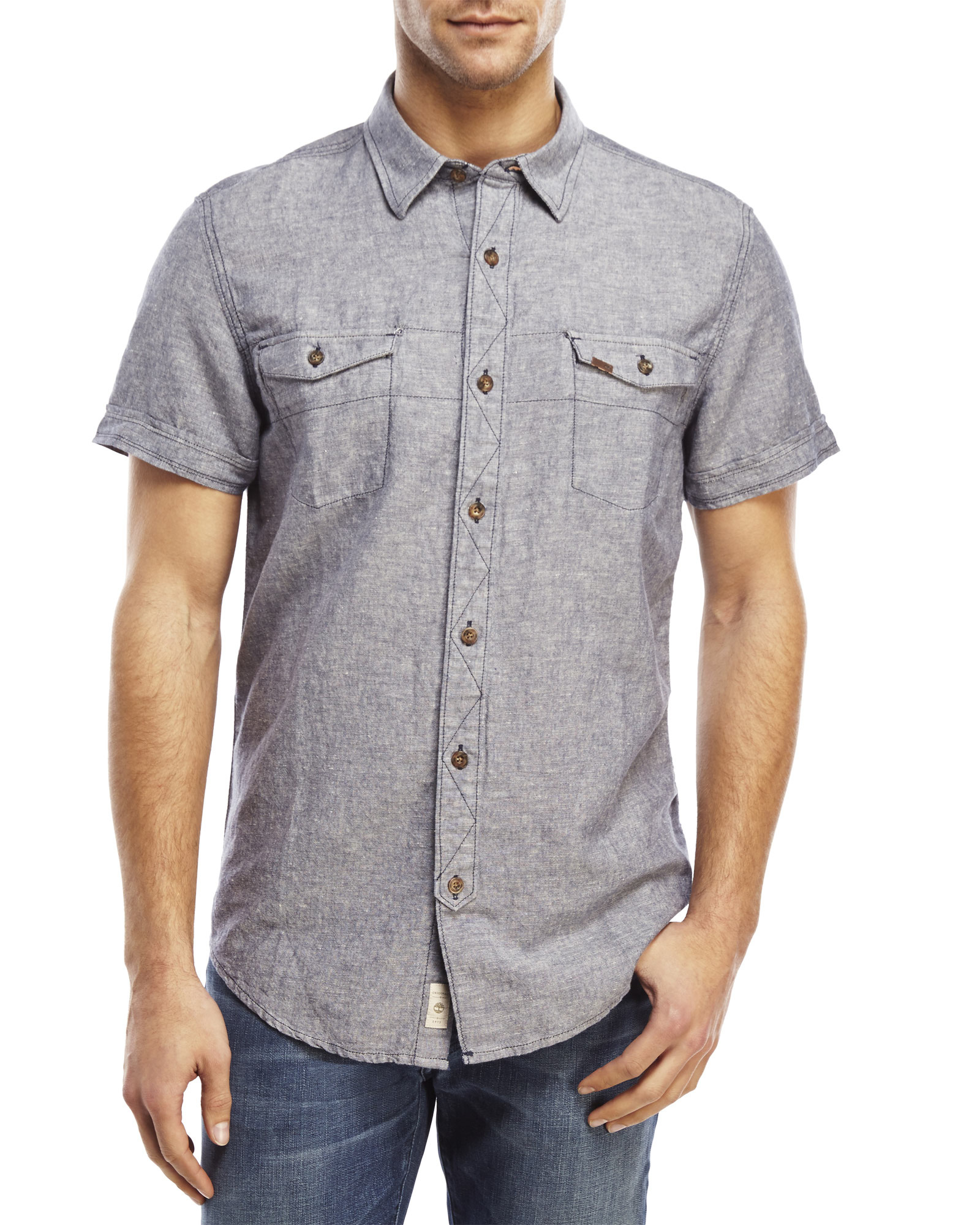timberland two pocket short sleeve linen shirt in black