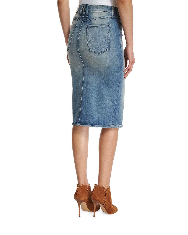 mcguire marino denim pencil skirt in gray lyst