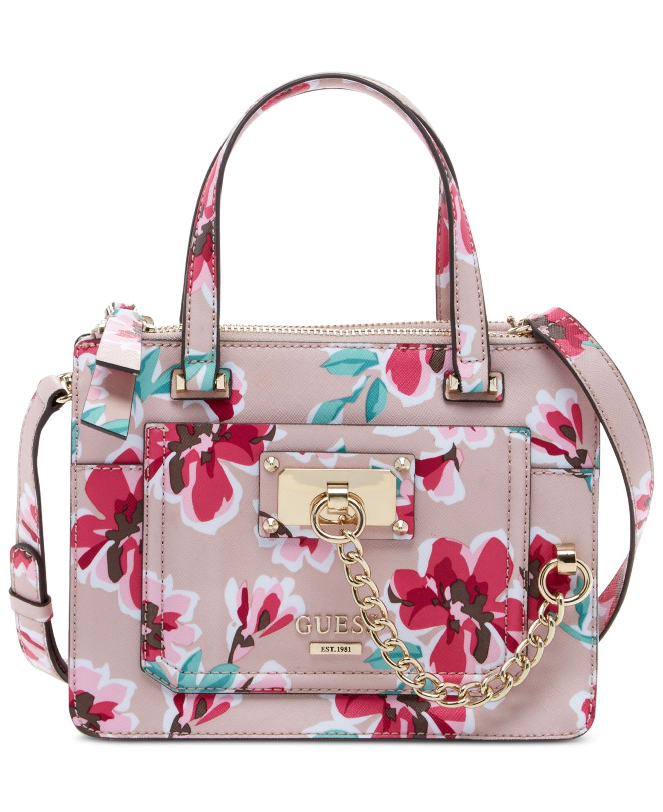 82a6775a2f6a Lyst - Guess Forget Me Not Little Status Satchel Floral Bag