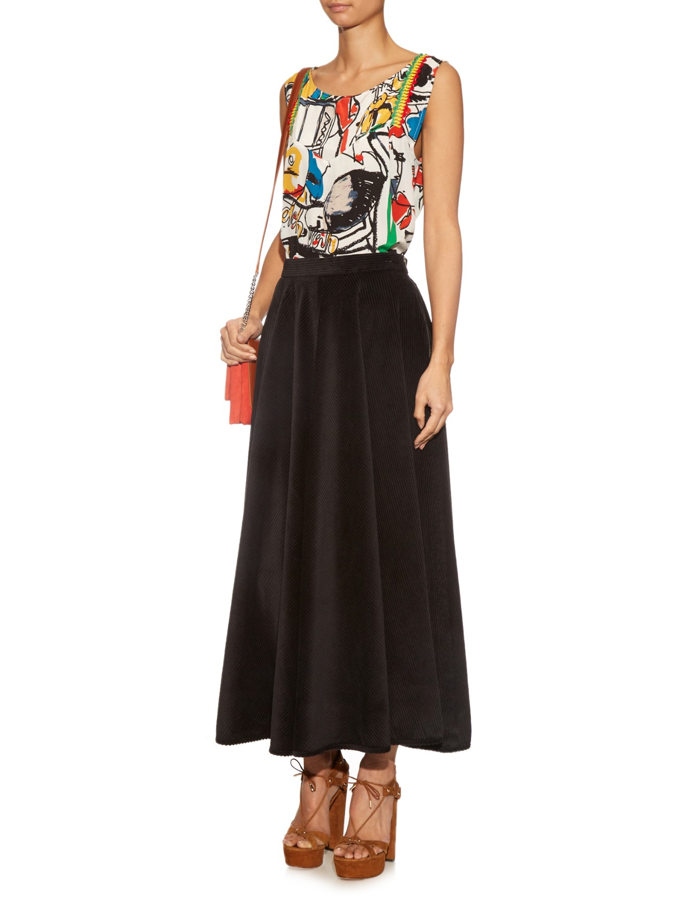 Rachel comey Circle Wide Wale Corduroy Midi Skirt in Black | Lyst