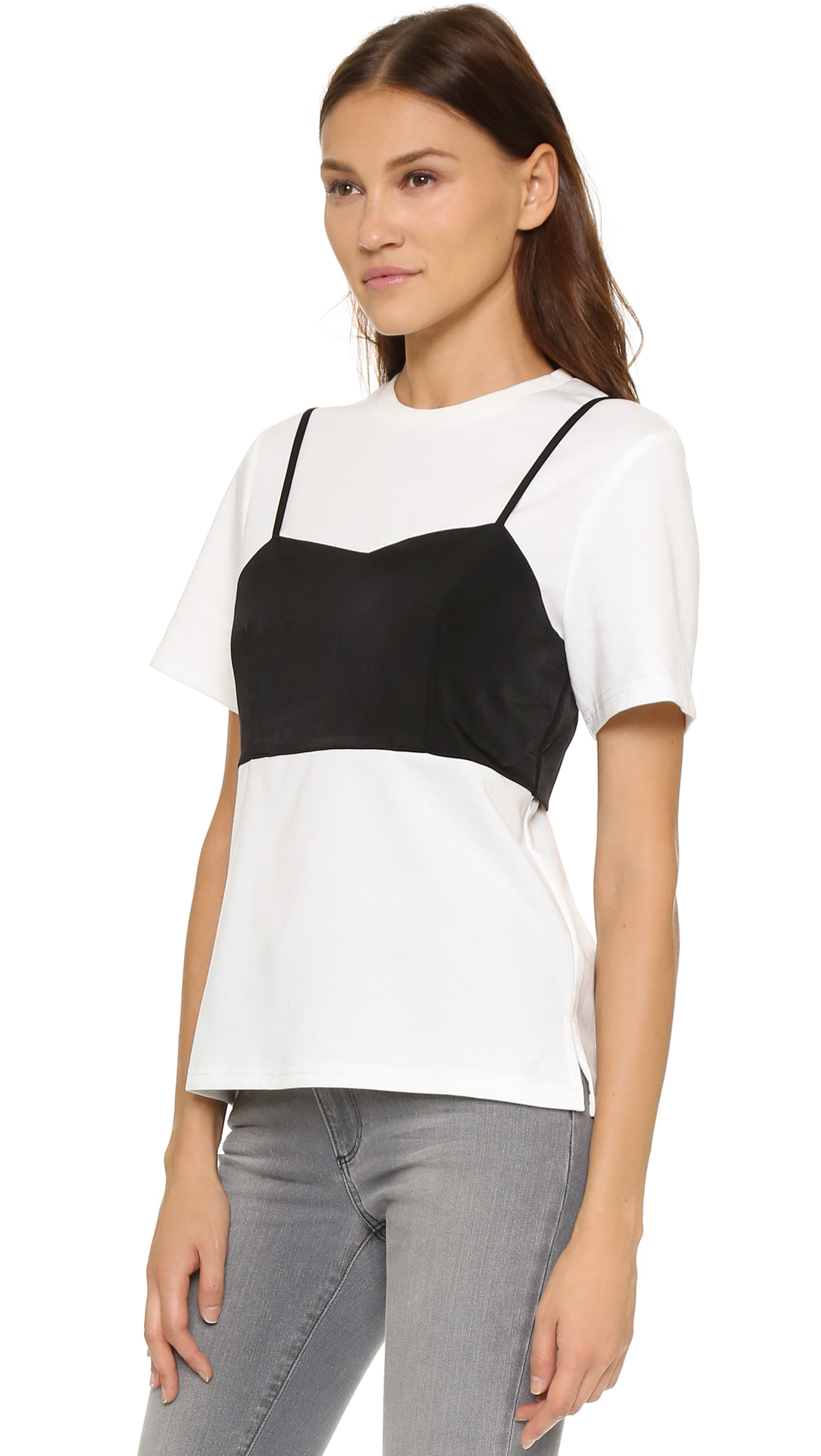 3a291294e1564 Lyst - English Factory Layered Cami Tee in Black
