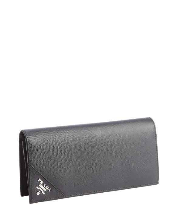 Prada Black Saffiano Leather Long Bi-Fold Wallet in Black for Men ...