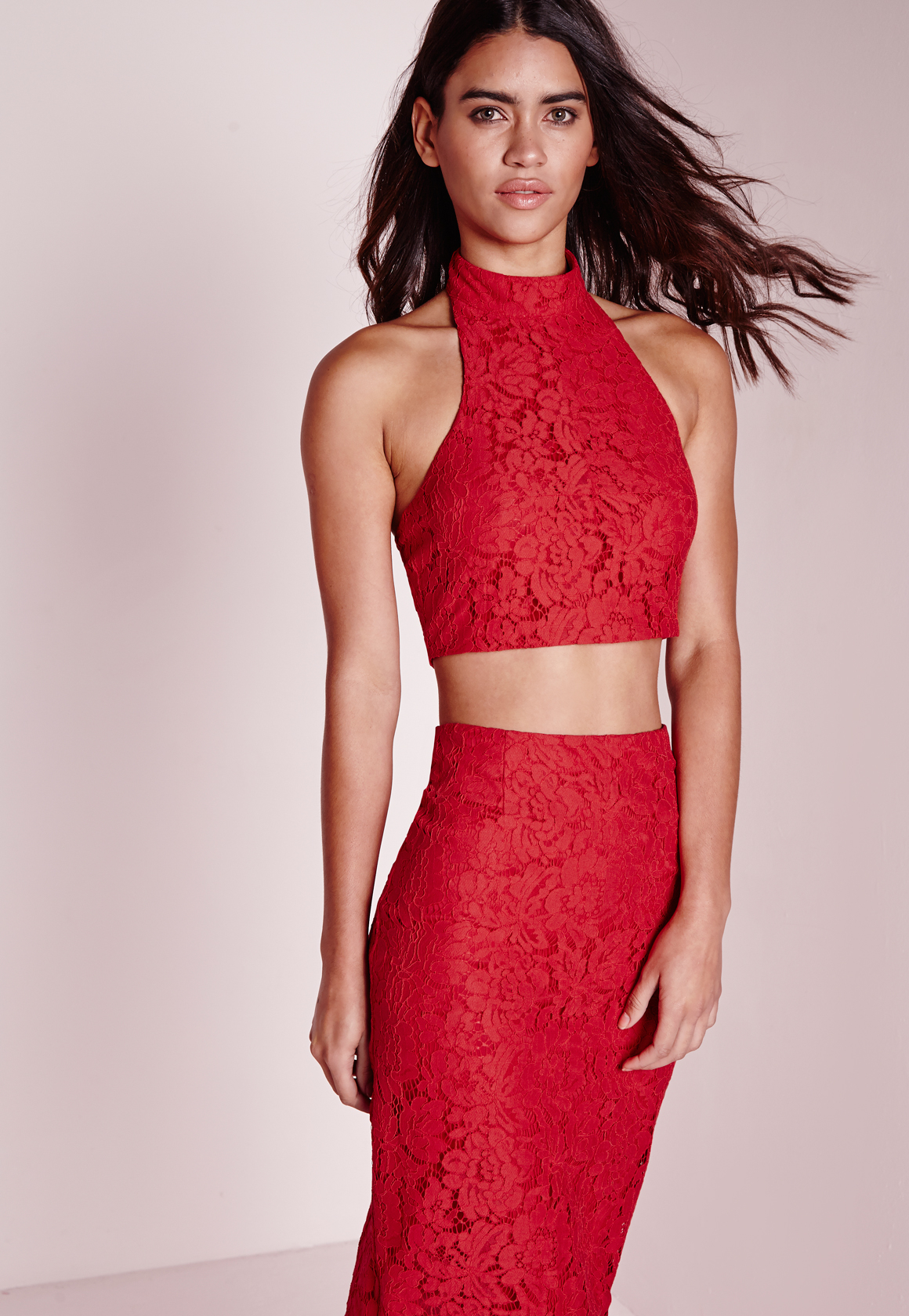 Lyst - Missguided Choker Lace Halter Top Red in Red