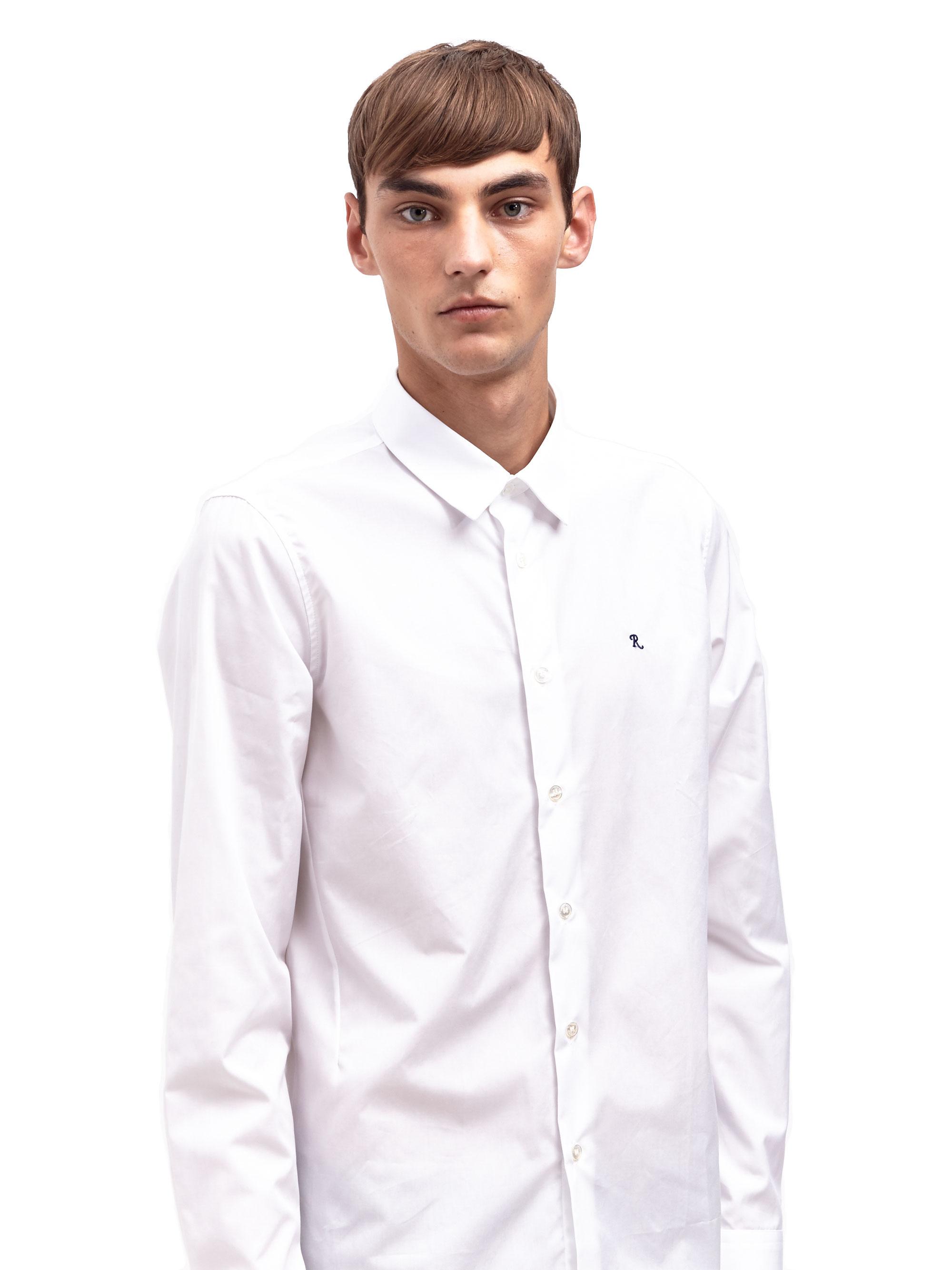 Lyst raf simons mens r logo slim fit shirt in white for men for Mens slim white shirt