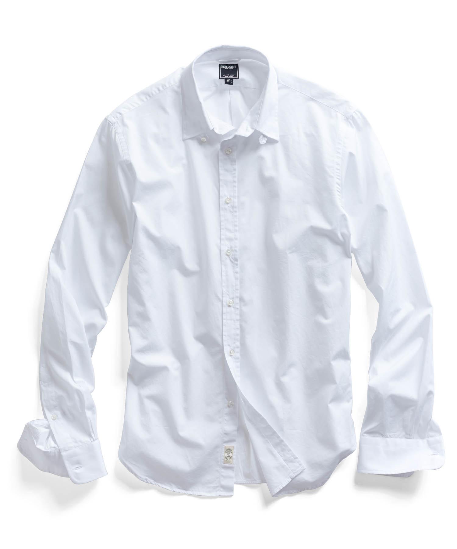 Todd snyder poplin tab collar dress shirt in white in for Mens tab collar dress shirts
