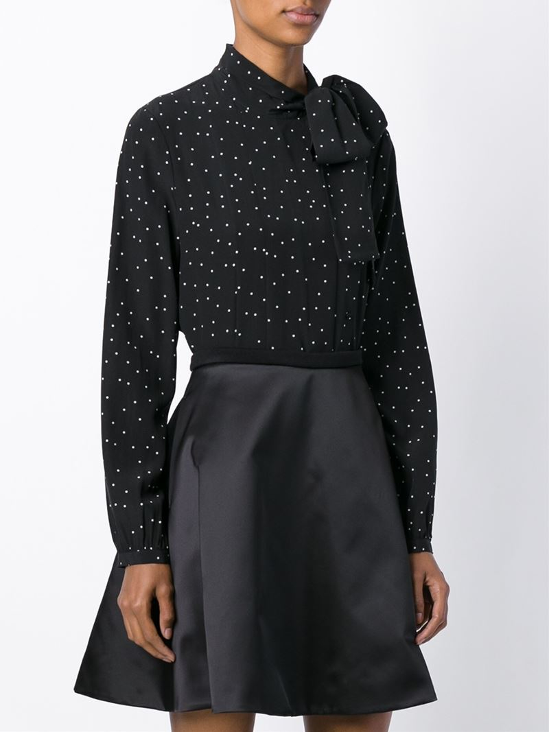 steffen schraut polka dot blouse in black lyst. Black Bedroom Furniture Sets. Home Design Ideas