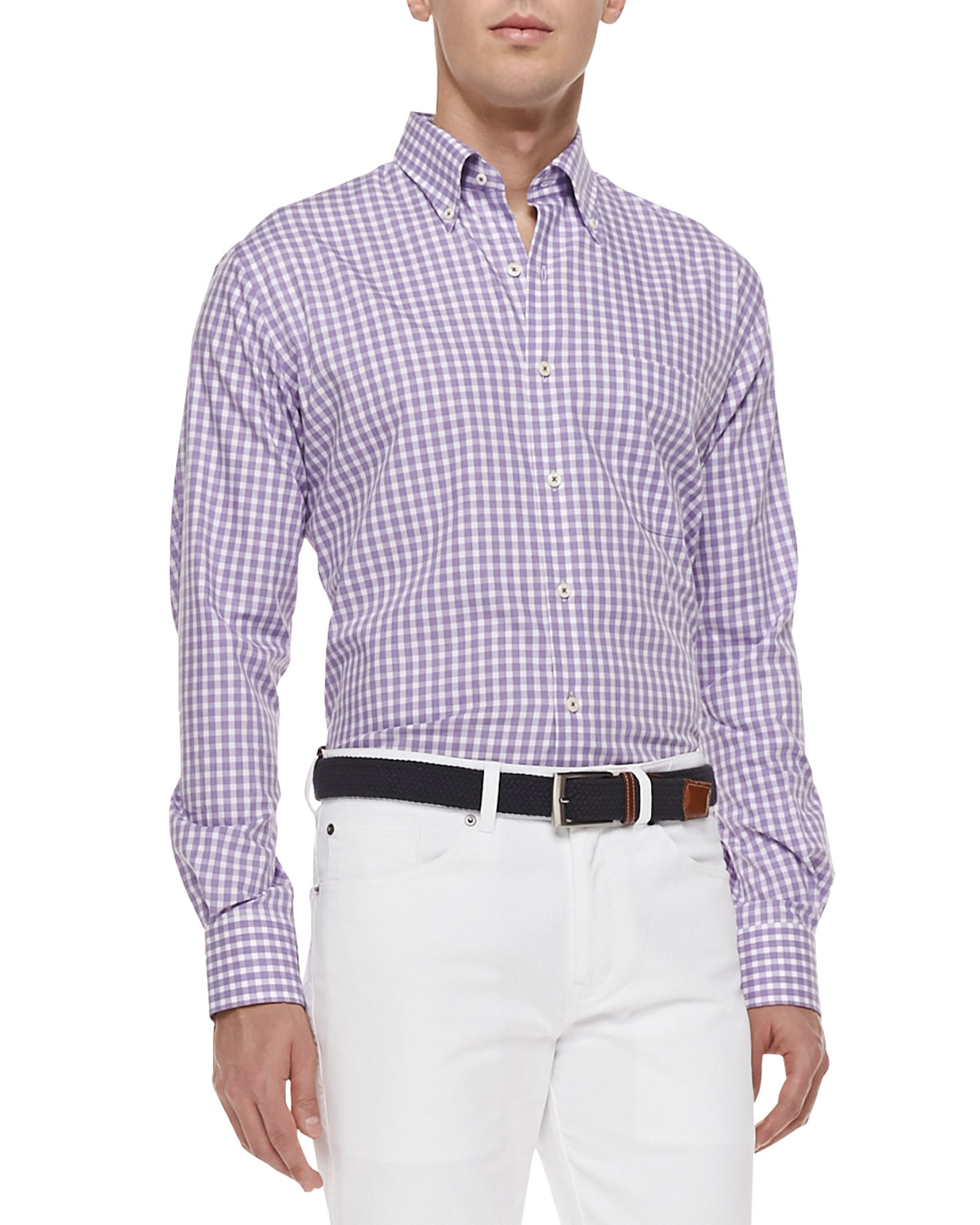lyst peter millar gingham tattersall sport shirt in
