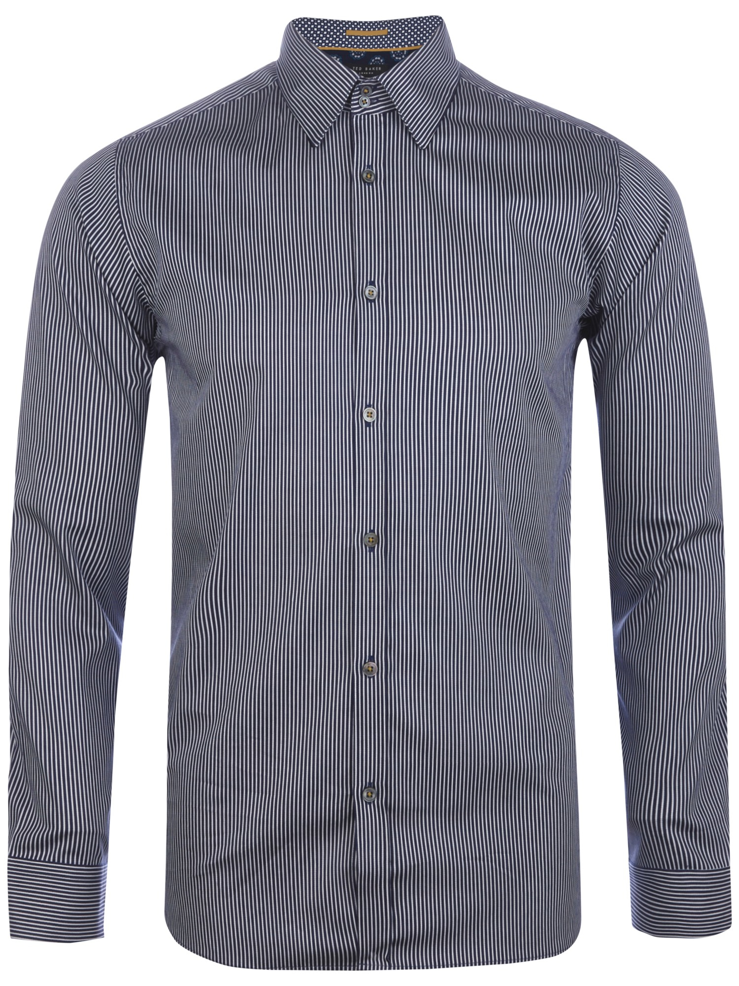 Ted baker verticl stripe long sleeve shirt in blue for men for Navy blue striped long sleeve shirt