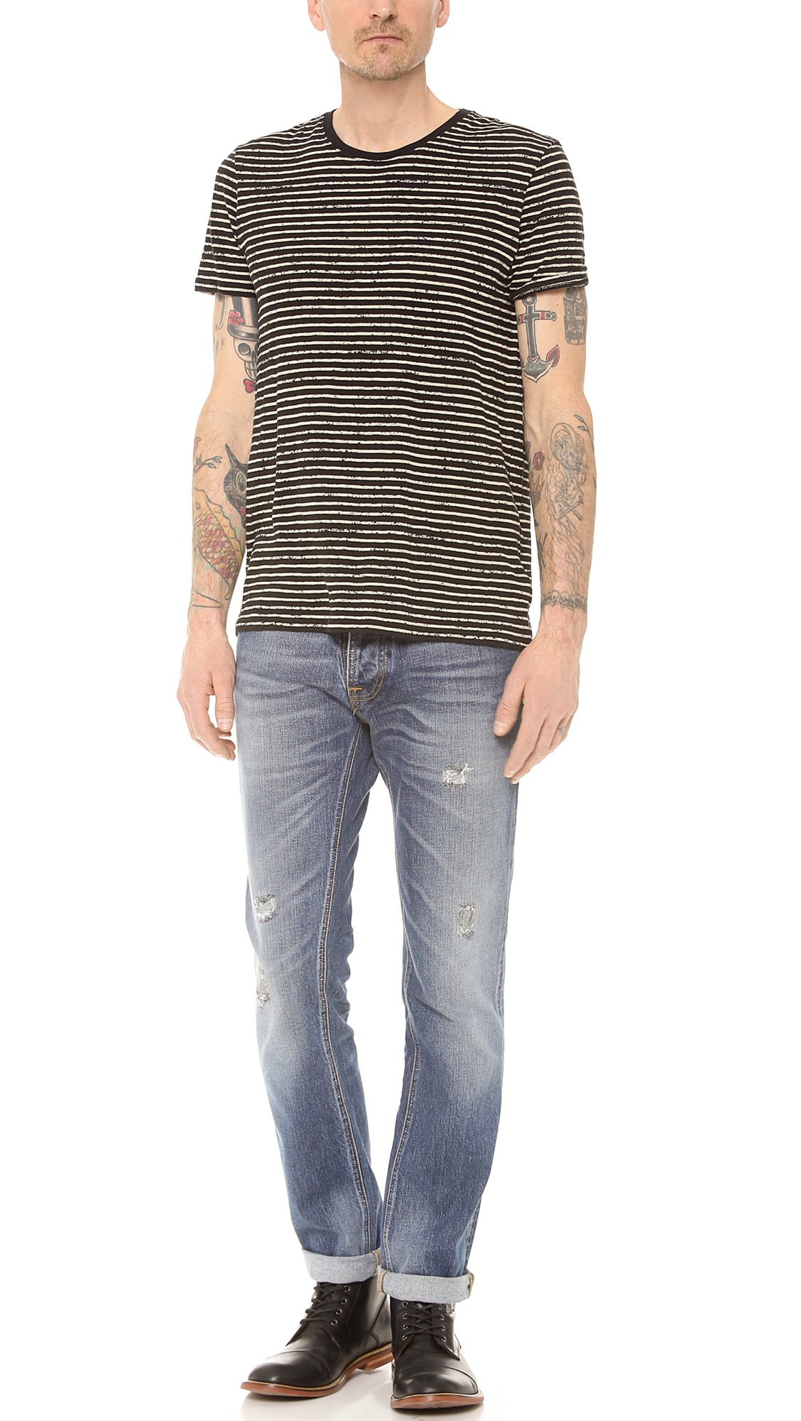 Nudie Jeans Grim Tim Org Mended Jeans in Blue for Men