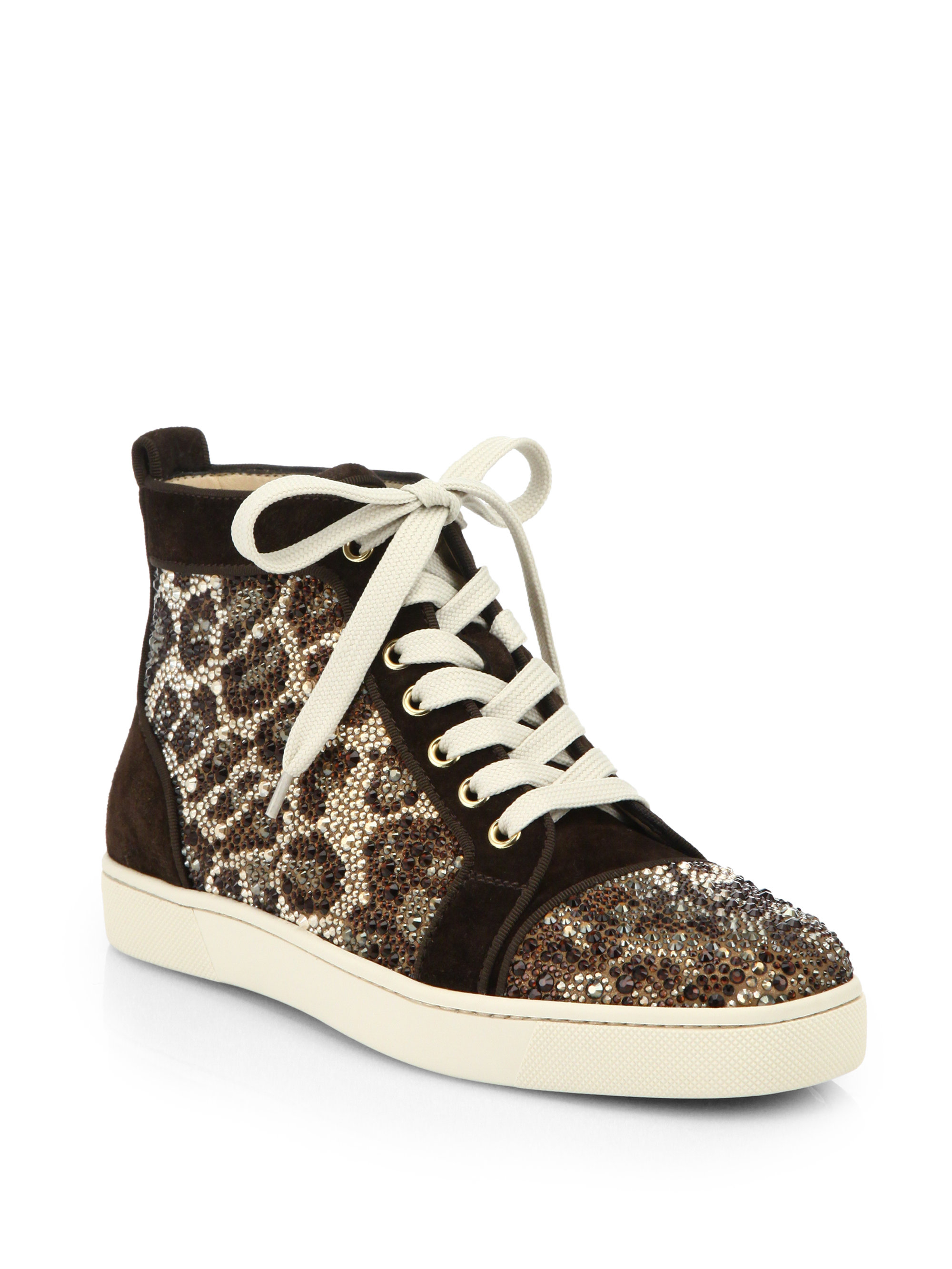 aa9dbc2c1ad Christian louboutin Crystal Leopard Pattern Suede High-top Sneakers in  Brown
