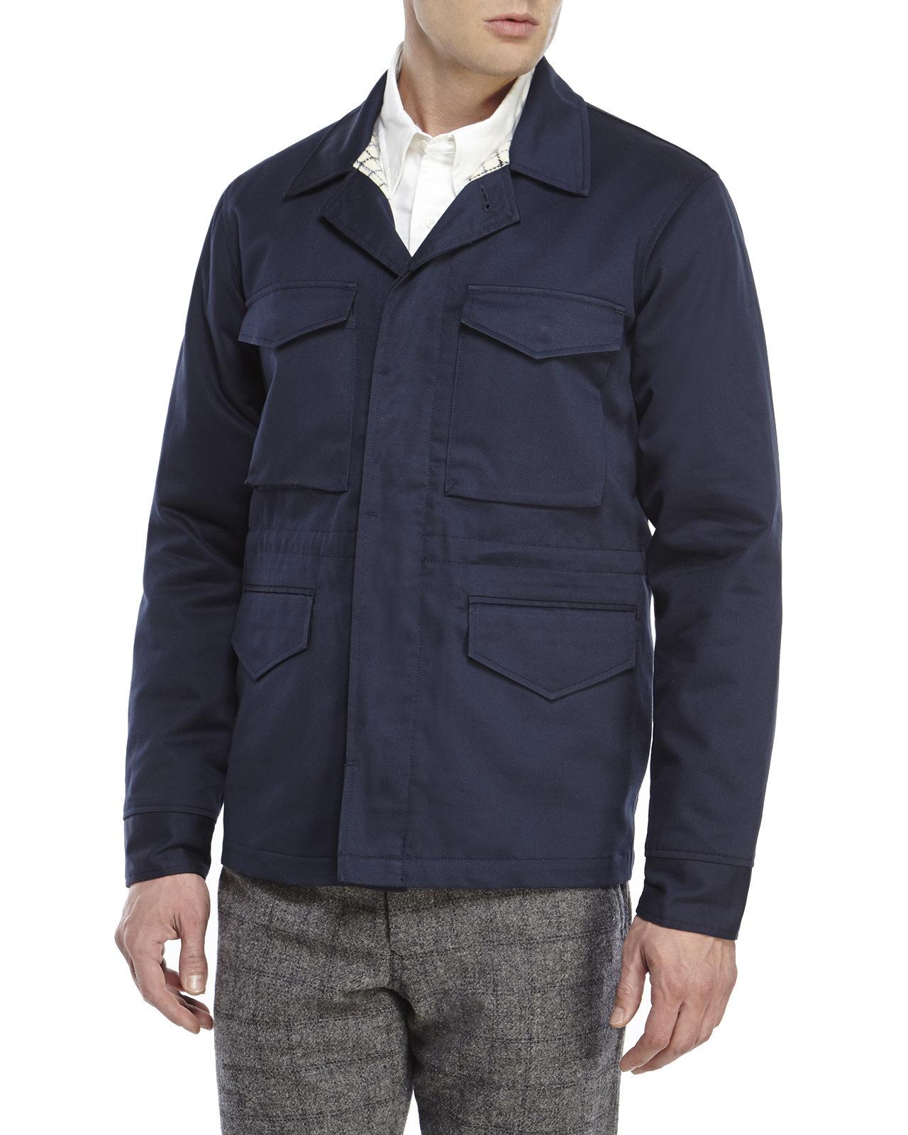 Lyst Woolrich Cotton Field Jacket In Blue For Men