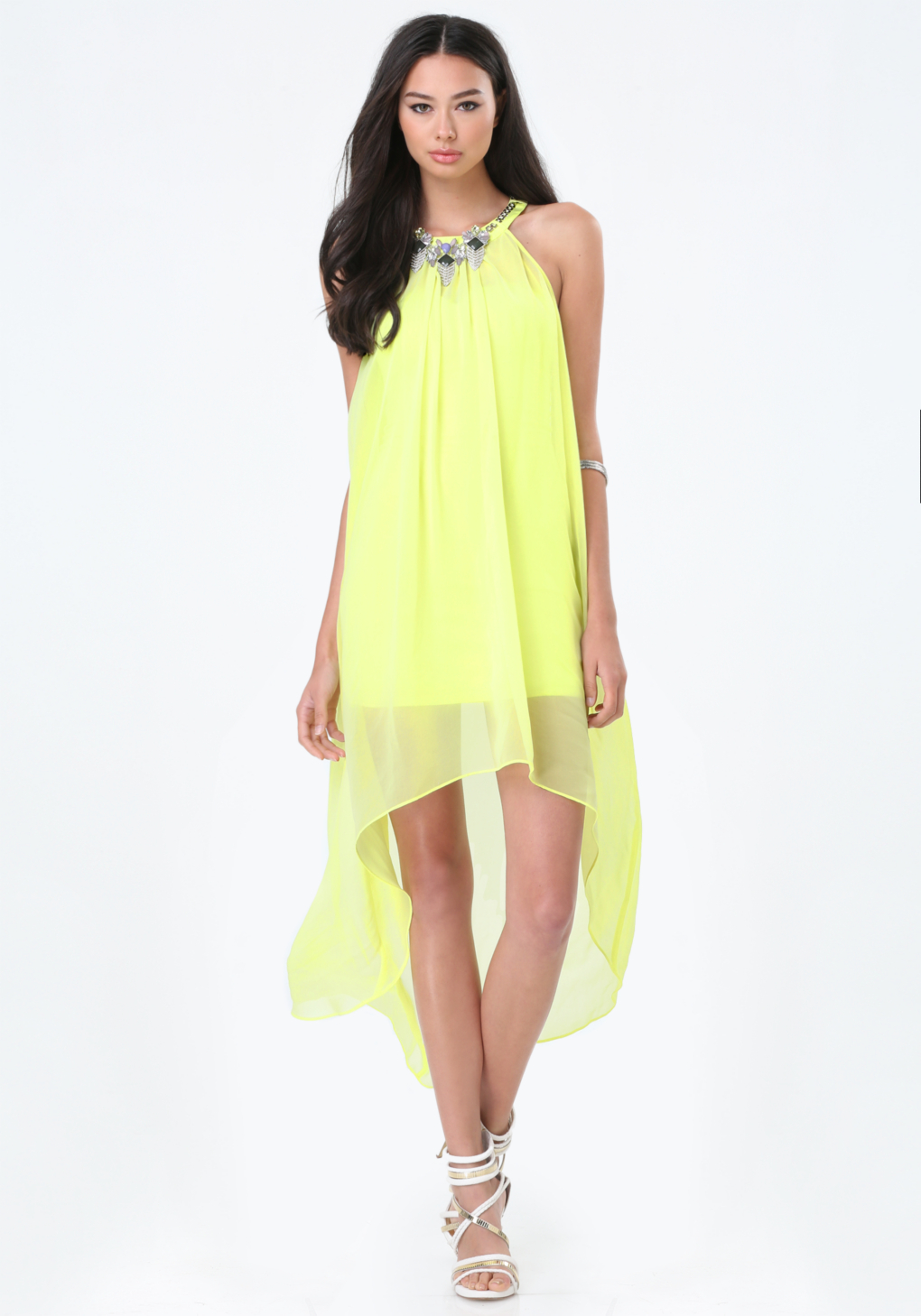 d0bc606c1e4fd Bebe Chiffon Overlay Hi-lo Dress in Yellow - Lyst