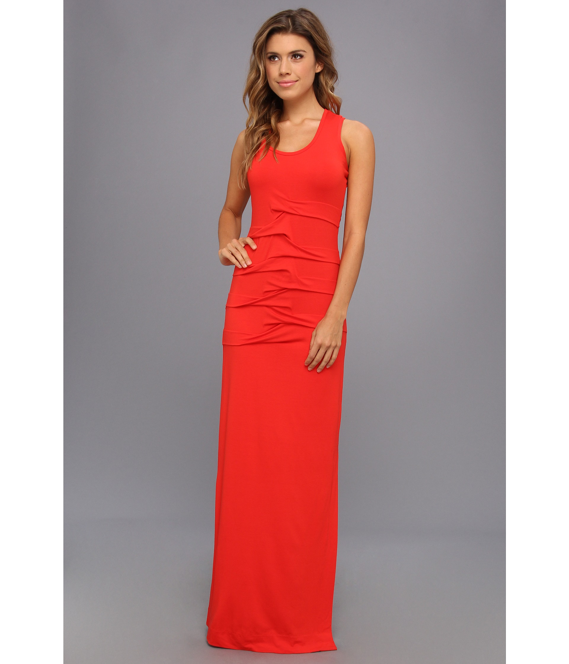 Nicole miller Simple Maxi Dress in Red | Lyst