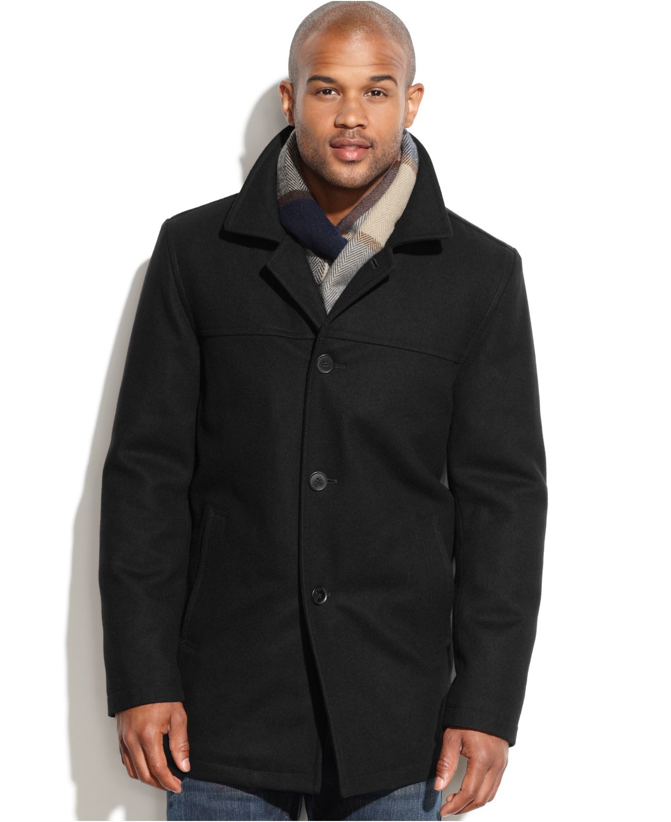 Tommy hilfiger Wool-blend Melton Walking Coat With Scarf in Black ...