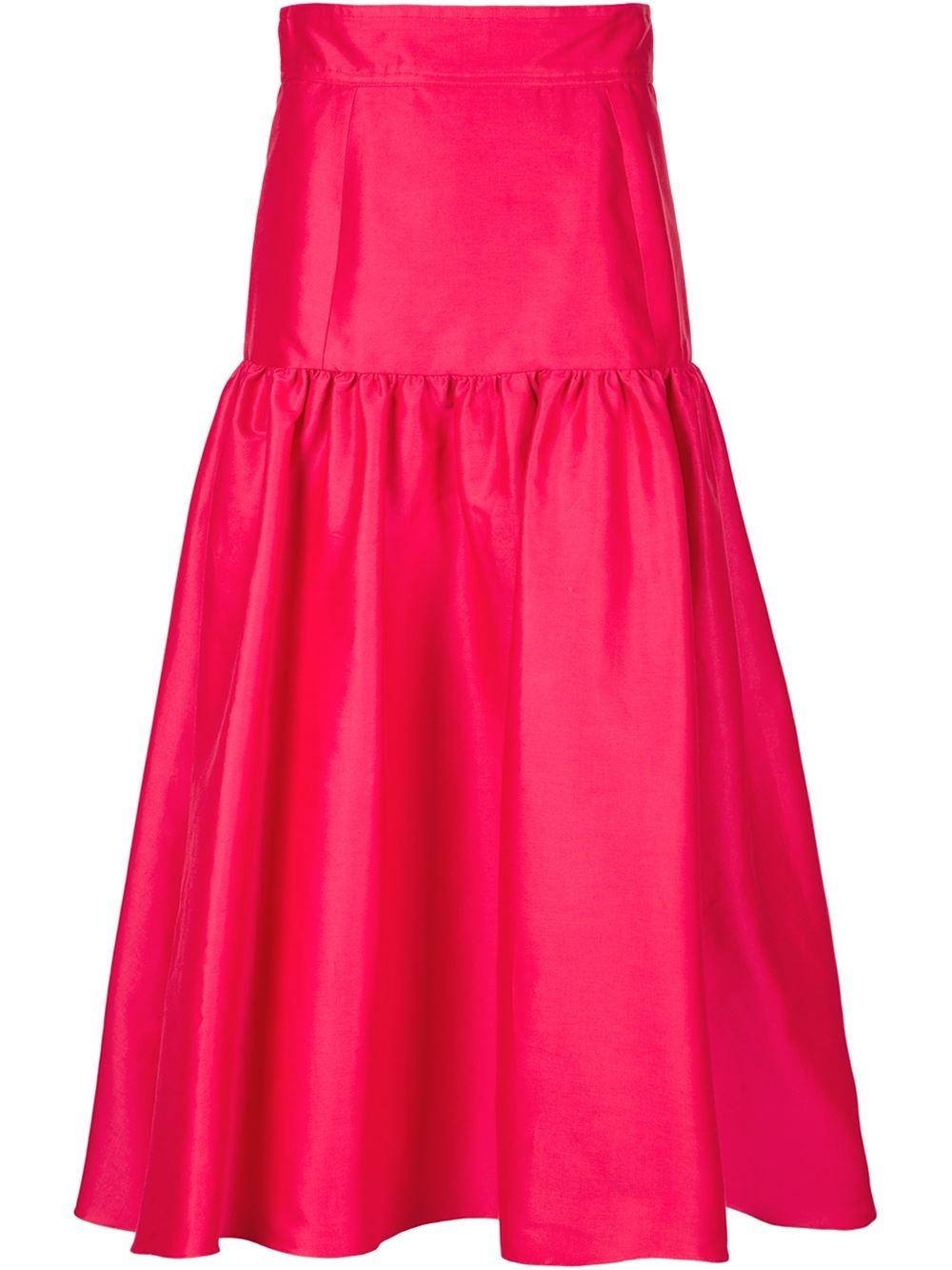 isa arfen cotton midi skirt in pink lyst