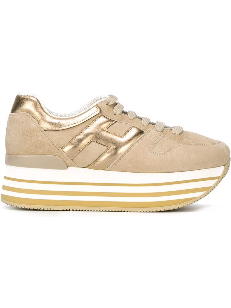 Hogan Leather 'maxi H222' Sneakers in Metallic - Lyst