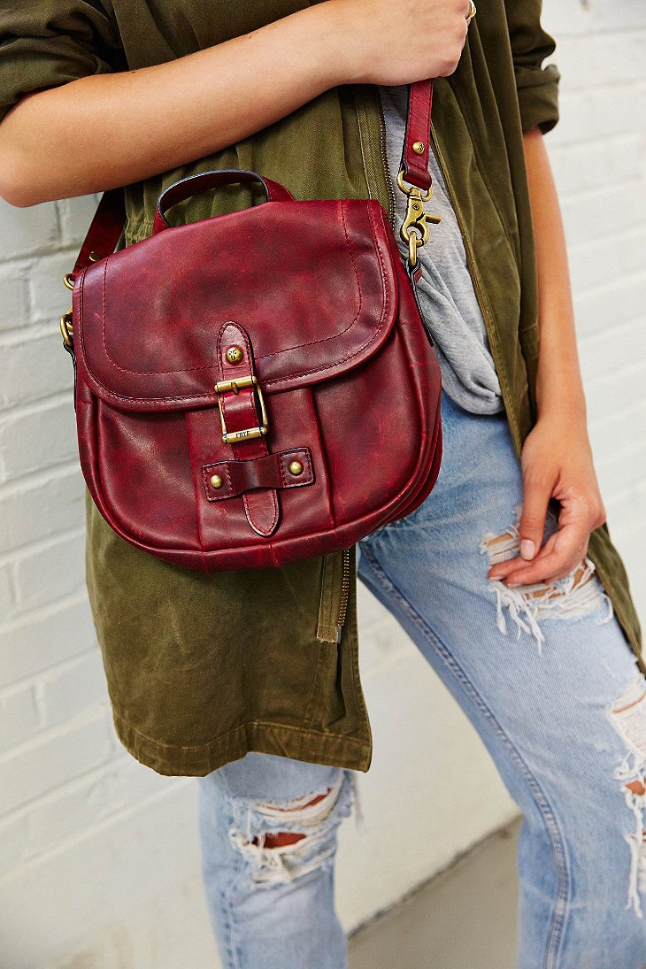 Lyst Frye Parker Leather Crossbody Bag In Red