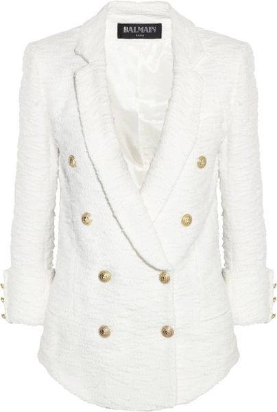 Balmain Doublebreasted Bouclétweed Jacket in White - Lyst