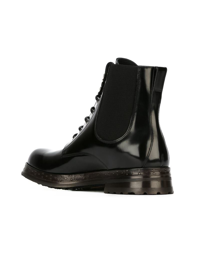 Dolce Amp Gabbana Lace Up Boots In Black For Men Lyst