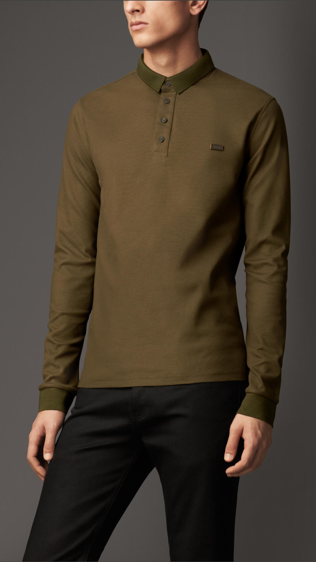 Burberry Long Sleeve Polo Shirt In Brown For Men Lyst