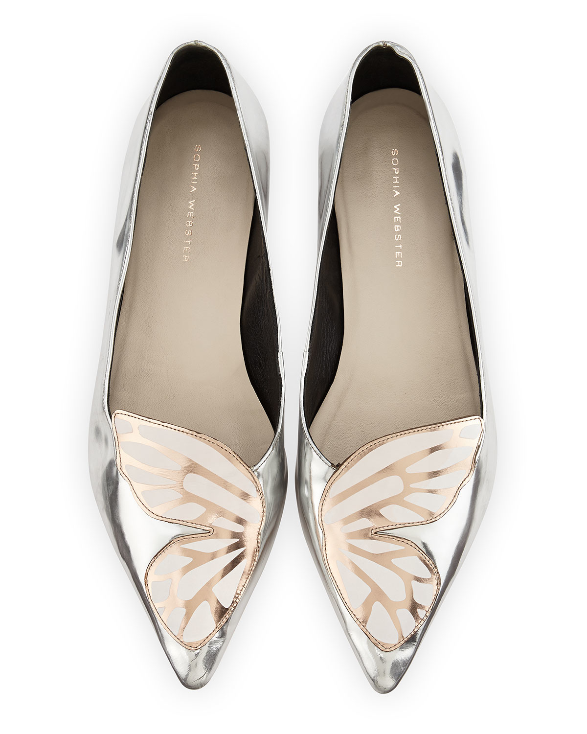 Lyst Sophia Webster Papillon Metallic Leather Flat In