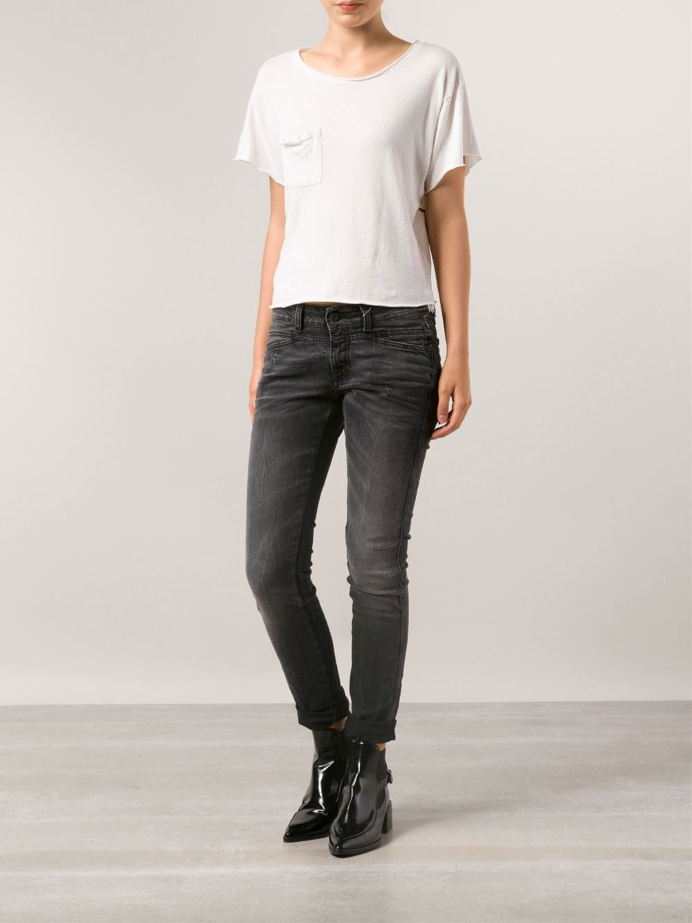 closed 39 pedal star 39 jeans in black lyst. Black Bedroom Furniture Sets. Home Design Ideas