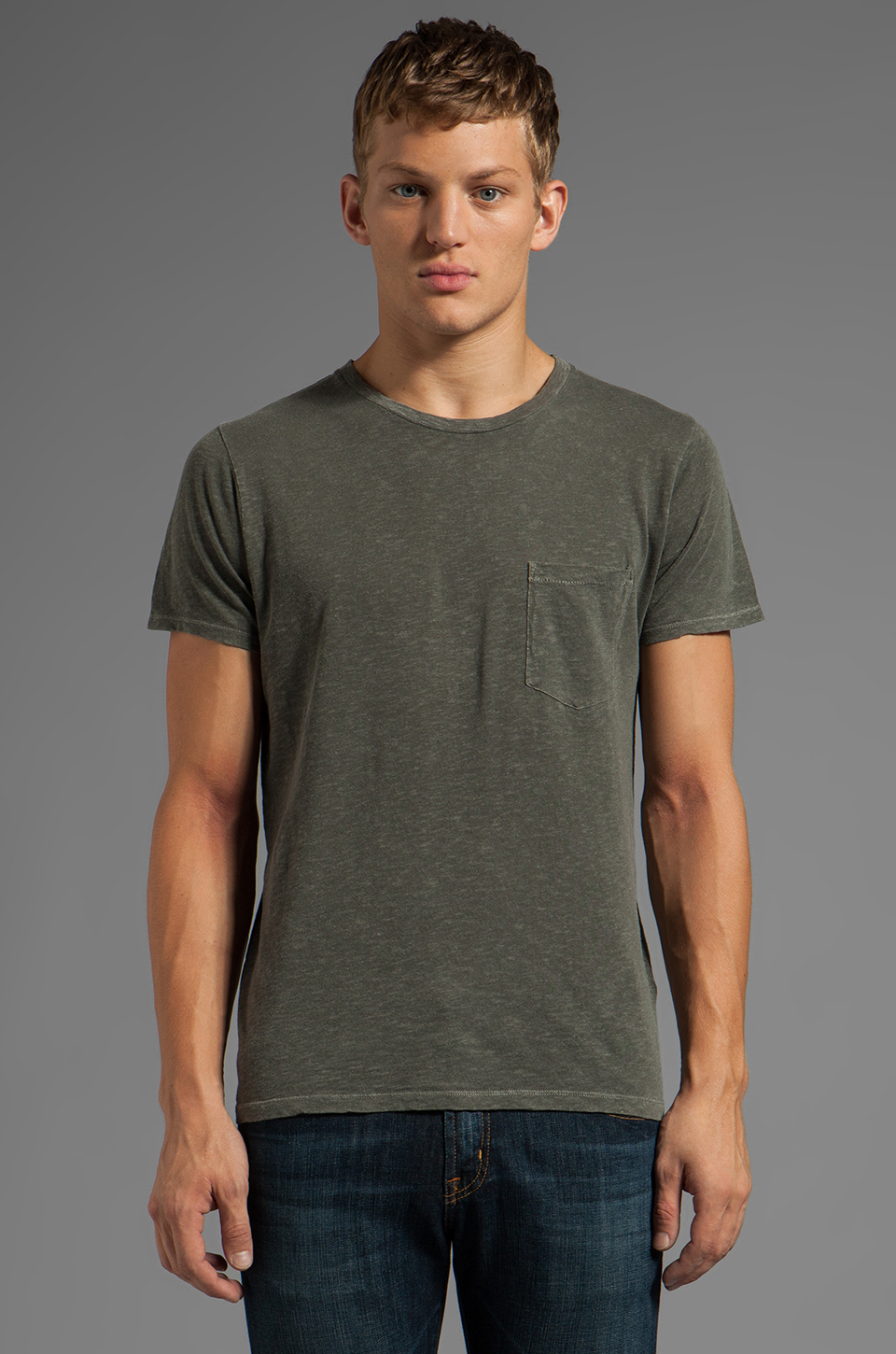 ag adriano goldschmied back seam pocket tee in green for men pigment diesel lyst. Black Bedroom Furniture Sets. Home Design Ideas