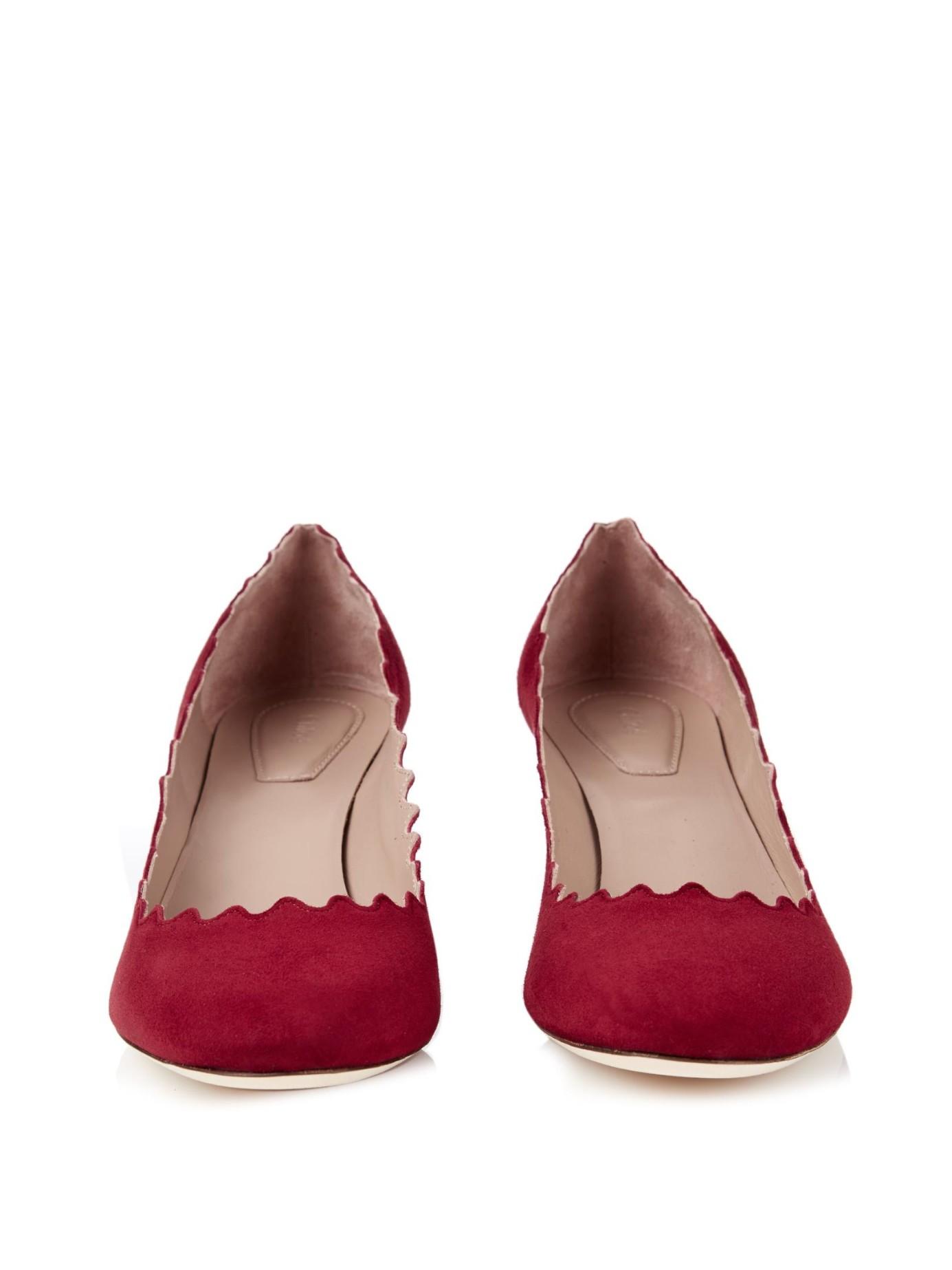 133a0eacb85 Lyst - Chloé Lauren Suede Block Heel Pumps in Red