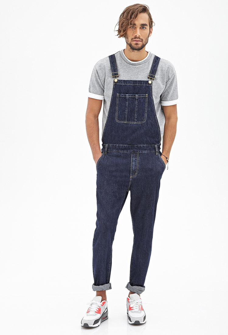 Forever 21 Classic Wash Denim Overalls In Blue For Men | Lyst