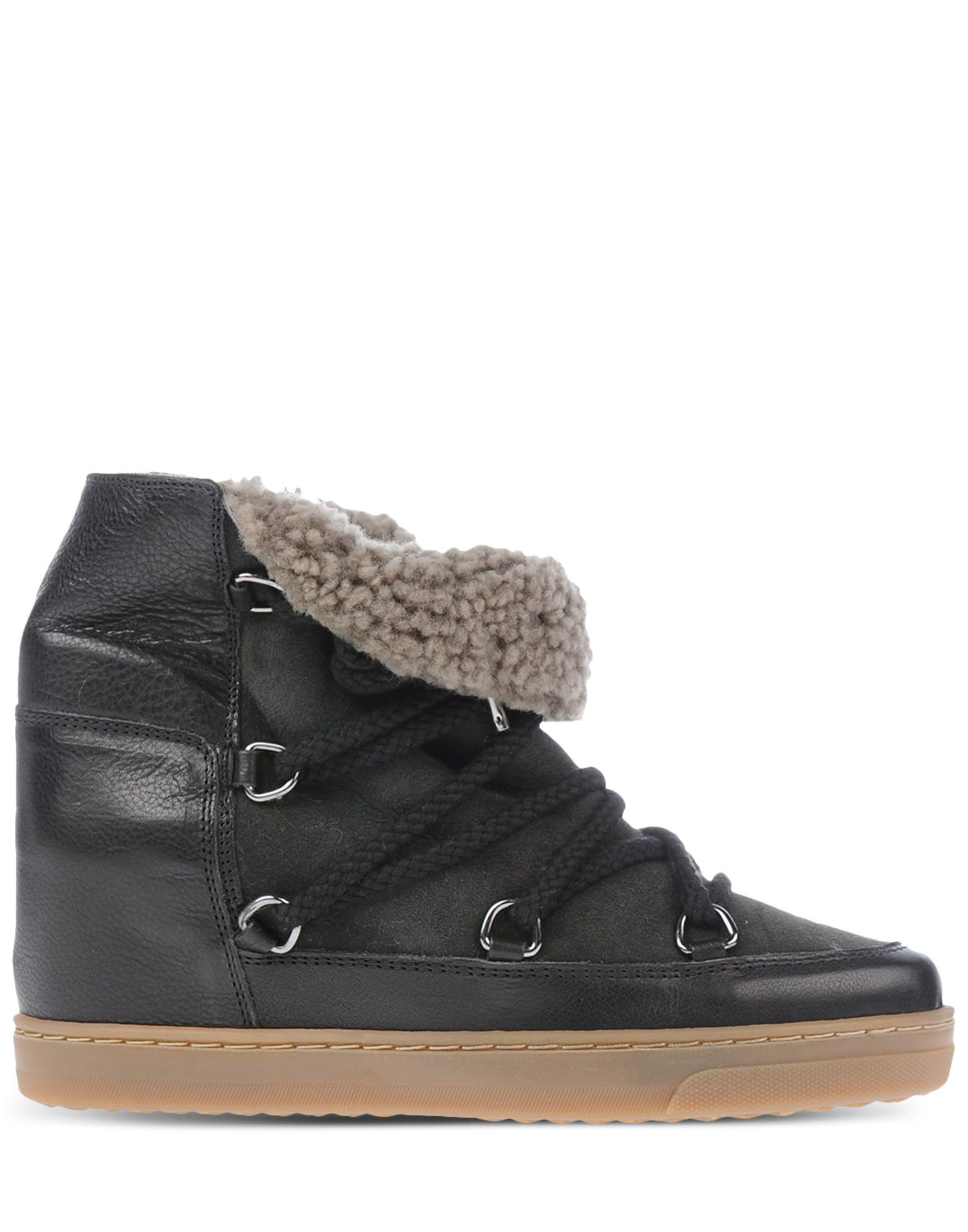 toile isabel marant shearling lace up boots in black lyst. Black Bedroom Furniture Sets. Home Design Ideas