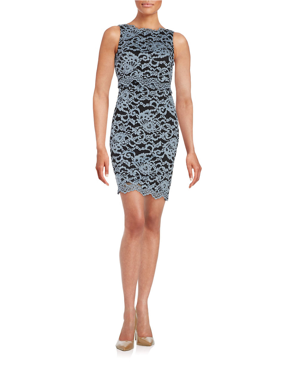 Ivanka trump Lace Popover Dress in Gray | Lyst