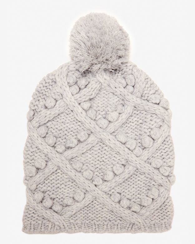 0bd1a0b1 Exclusive For Intermix Gray Popcorn Cable Knit Beanie