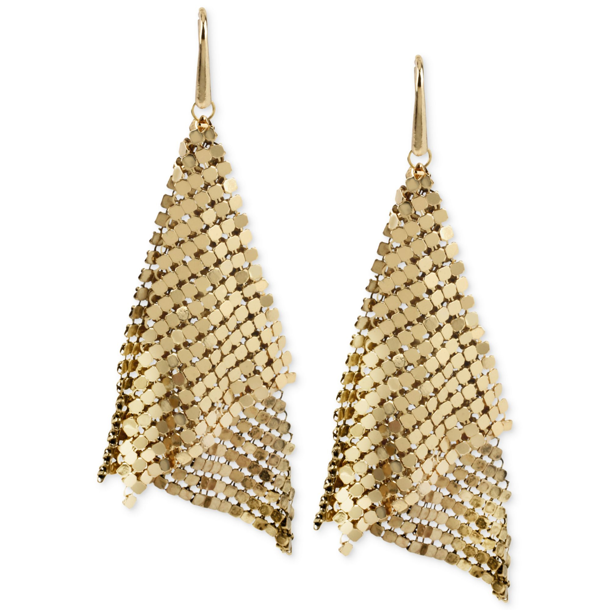 75419142318 Lyst - Steve Madden Goldtone Mesh Drop Earrings in Metallic
